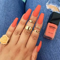 41 Gorgeous And Sexy Orange, Gold And Coral Acrylic Nails And Matte Nails Design You May Try This Season - Nail Idea 💕 ꁅꂦ꒒ꀸ, ꉓꂦꋪꍏ꒒, ꂦꋪꍏꈤꁅꍟ ꈤꍏꀤ꒒ꌗ ♥ ♥💕 ♥💕 ♥💕 ♥ ♥💕 ♥💕 ♥💕 ♥💕 ♥ ♥ ♥💕 ♥💕 ♥💕♥ Hope you love these stunning nails collection! Coral Acrylic Nails, Coral Nails, Summer Acrylic Nails, Matte Nails, Orange Ombre Nails, Coffin Nails Designs Summer, Coffin Acrylic Nails, Ballerina Acrylic Nails, Long Square Acrylic Nails