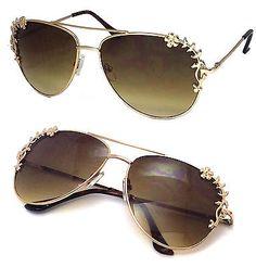 Womens Metal Flower Foliage Trim Tear Drop Designer Fashion Aviator Sunglasses