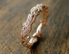 Anillo de bodas de diamante en oro blanco de 14K por SlowackJewelry