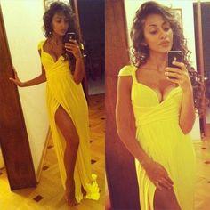 Yellow dress #pretty #dress #long