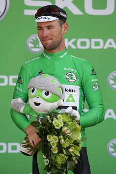 #TDF2016 Mark Cavendish of Great Britain riding for Team Dimension Data takes the podium after winning the points jersey during stage six of the 2016 Le Tour...