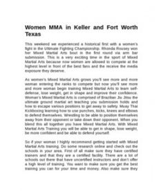 Women MMA in Keller and Fort Worth Texas