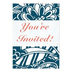 Geometric Floral Pattern in Graphic Bold Blue Custom Announcements #floral #pattern #iconographique #blue #white