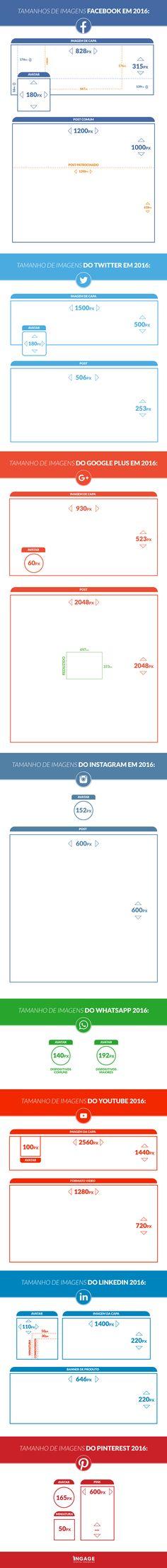 Infográfico 2016 Tamanhos de Todas as Redes Sociais #Ingage