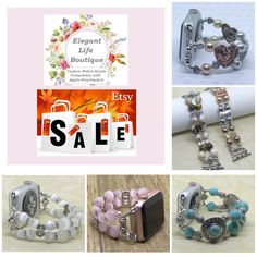 Gift for Apple Watch Lovers!! I'm having a 20% off Sale (on all Apple Watch Bands for Women) for the holidays with free domestic USPS First Class Shipping - extended days November 20th thru December 1st! The place to get stylish Handmade Apple Watch Bands! Handmade Women's Beaded Bracelet Watch Bands Compatible for Apple Smartwatch Series 0, 1, 2 and 3 (38mm & 42mm) - made in the USA by www.elegantlifeboutique.com Please visit my website, Etsy shop or eBay store @ElegantLifeBoutique