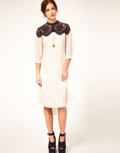 asos silk shirt dress with lace insert, yes please!