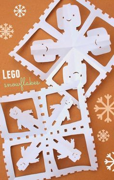 Lego Snowflakes- Easy and fun! Lego Snowflakes- Easy and fun! Holiday Crafts, Holiday Fun, Fun Crafts, Crafts For Kids, Paper Crafts, Rock Crafts, Nature Crafts, Origami, Winter Fun