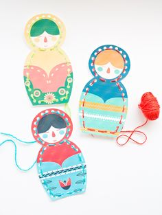 Free Printable - Matryoshka Nesting Dolls Lacing Cards - send a few of these (without the yarn) to your sponsored little girls along with instructions on how to do the lacing