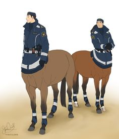 Ok but Dan as a police centaur (+ random co-worker)