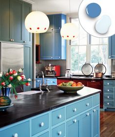 To add some oomph to the simple Shaker-style cabinets in this kitchen, architect Adolfo Perez used pale blue on the cabinet boxes and a deeper shade on doors and drawer fronts. The result: pure cottage charm.    For a similar look, try: Romantic Blue (deep blue) and Smooth Blue (pale blue), Mythic    Design: Adolfo Perez; adolfoperez.com
