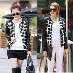 Women Short Jacket PU Leather Patchwork Crew Neck Long Sleeves Thin Coat Outerwear Houndstooth Check Pattern