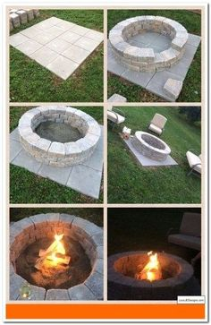 DIY Fire Pit- So Easy! (It only takes an hour!) - Do it yourself decoration-DIY Fire Pit- So einfach!) – Dekoration Selber Machen DIY Fire Pit- So Easy! (It only takes an hour! Diy Fire Pit, Fire Pit Backyard, Garden Fire Pit, How To Build A Fire Pit, Building A Fire Pit, Back Yard Fire Pit, Fire Pit On Pavers, Fire Pit Area, Small Fire Pit