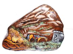 Mountain Rest Stop Stone Painting, Rock Painting, Landscape Rocks, Outdoor Crafts, Landscaping With Rocks, Painted Stones, Rock Art, Outdoor Gardens, Westerns