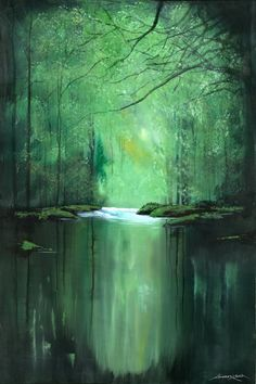 "Saatchi Art Artist Andrew Keola; Painting, ""Tranquil River"" #art"