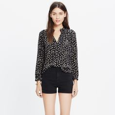 Silk Memory Blouse in Stencil Blossom : blouses | Madewell