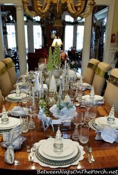 Combine Green, White, Silver and Crystal for a Stunning, Elegant Table Setting