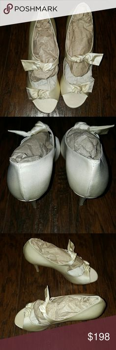 Bridal by Butter Satin Shoes Brand new without box. Never worn Bridal by Butter Shoes Heels