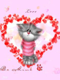 KITTEN INSIDE RED FLOWER HEART