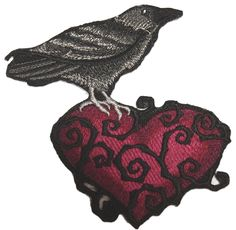 """Amazon.com: [Single Count] Custom and Unique (4.5"""" x 4"""" Inch) """"Love"""" Dark Raven Bird Perched On Thorny Heart Iron On Embroidered Applique Patch {Black & Red Colors}"""