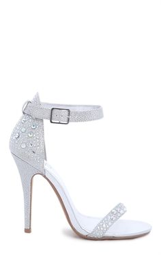 Glitter Single Sole High Heel with Stone Detail and Ankle Strap