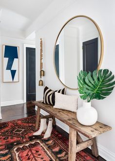 Jewel tone colors and texture were a priority when making over this one-bedroom NYC apartment—and it definitely shows in the entryway. Head to the link in our bio to get inspired by the space! Ikea Deco, Living Room Decor, Bedroom Decor, Living Room Bench, Bench In Hallway, Small Entryway Bench, Front Hallway, Small Bench, Front Entry