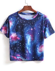 Blue Short Sleeve Galaxy Print Crop T-Shirt - Sheinside.com