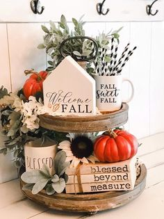 Welcome Fall Tiered Tray Sign, Chunky House Sign, Autumn Sign, Tray Sign, Fall Tray Sign - New Deko Sites Thanksgiving Decorations, Seasonal Decor, Table Decorations, Fall Home Decor, Autumn Home, Welcome Fall, Autumn Decorating, Fall Signs, Fall Diy