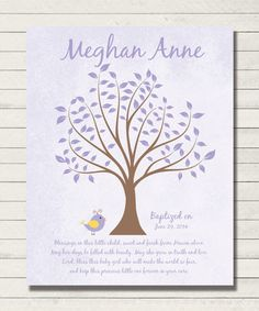 Baptism Gift - Christening Gift - Dedication - Personalized Baby Wall Art for Nursery -8x10 Print - Colors and wording can be changed