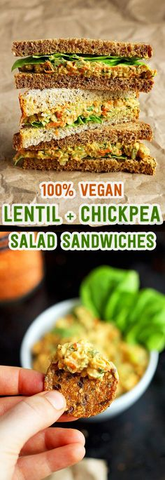 "+ Chickpea Salad Sandwiches (a. Vegan ""Egg"" Salad Sandwiches) Lentil + Chickpea Salad Sandwiches {a. Vegan ""Egg"" Salad Sandwiches} - Lentil + Chickpea Salad Sandwiches {a. Veggie Recipes, Lunch Recipes, Whole Food Recipes, Vegetarian Recipes, Cooking Recipes, Healthy Recipes, Vegan Lentil Recipes, Vegan Vegetarian, Healthy Snacks"