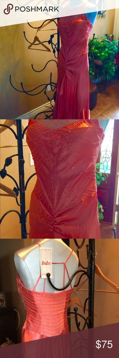Coral formal dress! Most beautiful dress ever This coral formal evening dress is so beautiful and flattering in every area. This can be worn to The Oscars or anything else! Original tags. Worn to my son's wedding when I was the yoga queen and rocked a beautiful back!!!! Isis Dresses Wedding