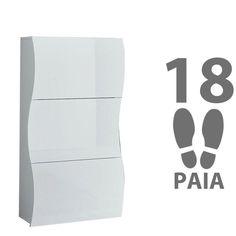Scarpiera 3 ante bianco lucido contiene 18 paia ONDA