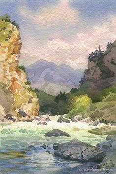 Watercolor Water, Watercolor Landscape Paintings, Watercolor Ideas, Berg, Watercolours, Landscaping, National Parks, Rocks, Illustration Art