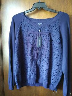 a7224dea NEW 2X Tommy Hilfiger Womens Plus Crochet Lace Pullover Sweater Blue # TommyHilfiger #Pullover Tommy