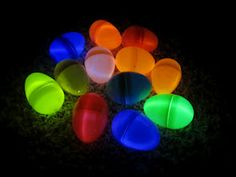 So cool - glowing Easter eggs for night hunting. Just put glow bracelets inside the eggs.