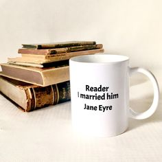 Jane Eyre Coffee Mug, Bookworm Gift Statement Mug for Book Lovers Classic Literature, Classic Books, Indie Movies, Old Movies, Gifts For Bookworms, Gifts For Friends, Jane Eyre Book, Order Stamps, Old Movie Posters