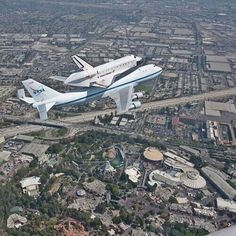official nasa photo: space shuttle endeavour flying over disneyland en route to its new home at the california science center on friday, sept. Disneyland History, Disneyland Today, Disneyland Tips, Disneyland California, Vintage Disneyland, Disneyland Resort, Southern California, Disney Dream, Disney Love