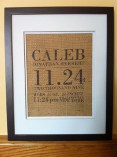 Burlap Wall Art  Birth Announcement by RusticLooks on Etsy, $16.00