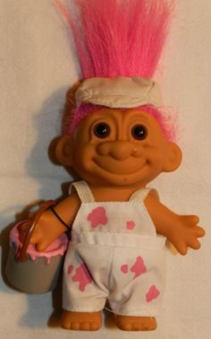 Love the hair thru the cap!--PAINTER Lucky 6 Inch Russ Troll Doll with Paint Bucket & Overalls Russ