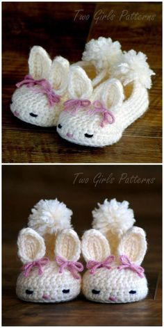 Bunny Slippers Crochet Pattern The Most Adorable Bunny Sl. - Bunny Slippers Crochet Pattern The Most Adorable Bunny Slippers Crochet Patt - Crochet Bow Pattern, Easter Crochet Patterns, Knitting Patterns, Knitting Ideas, Pattern Sewing, Baby Patterns, Crochet Baby Shoes, Crochet Baby Clothes, Crochet Slippers