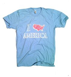 100% Made in the USA American patirotic Love America Tshirt.  Red White Blue Apparel's new design for men