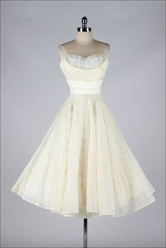 vintage 1950s dress . ivory flocked chiffon by millstreetvintage