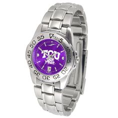 Louisiana Lafayette ladies stainless steel dress watch. This Cajuns women's watch comes with a stainless steel link bracelet, date calendar, plus a rotating bezel/timer circles the scratch resistant c