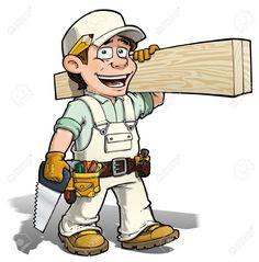 Carpintero llevando sus herramientas y cargando madera.