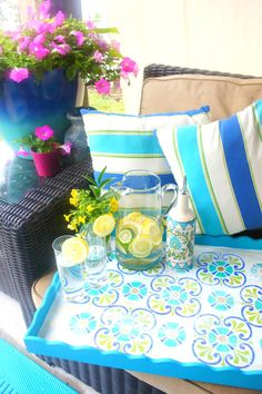 Quick and Easy Coloful Summer time Outdoor DIY Projects using the Tuscan Tile Stencils from Royal Design Studio