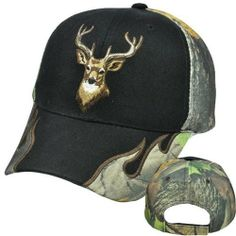 Outdoor Hunting Deer Elk Camo Camouflage Tree Hat Cap Acrylic Adjustable Velcro by OUTDOOR. $13.99. Adjustable. Velcro. 100% Acrylic. Official Licensed Product. Brand New Item with Tags. Deluxe outdoor cap with image of deer/elk embroidered on front panel. Tree camouflage pattern. Camo flames on both sides of bill. Camo back panel. Velcro adjustable closure. A must have hat/cap for your next outdoor or fishing activity.