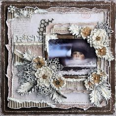 "Absolutely stunning winter layout, by Rachelle Sigurdson. Papers from MajaDesign's ""I Wish"" collection."