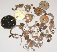 Lot of 100 Watch Parts and Pieces Vintage Gears scrapbooking steampunk jewelry altered art by scrapitsideways, $8.50
