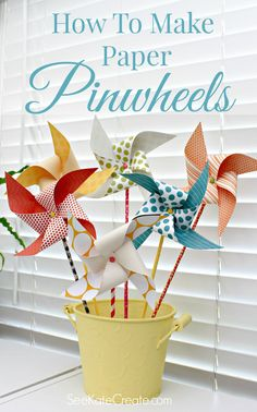 How To Make Paper Pinwheels - A fun summer family activity from mom4real.com