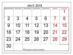 Calendário para imprimir abril 2018 - Emericus