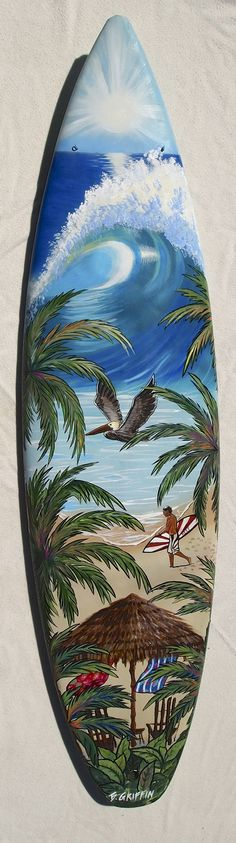 Upright beach umbrella scene hand painted surfboard mural by B. Griffin!